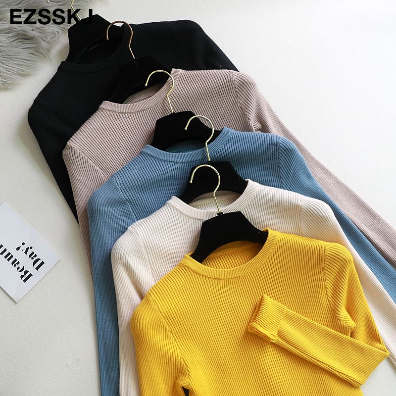2019 Knitted Women o-neck Sweater Pullovers spring Autumn Basic Women Sweaters Pullover Slim Fit Black cheap top