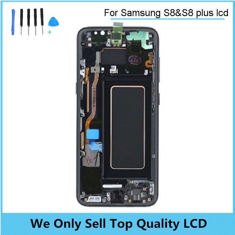Für Samsung Galaxy S8 S8 + Plus Super Amoled Unendlichkeit Display SM-G9550 G955 G950 Touchscreen Digitizer Montage mit Rahmen lünette