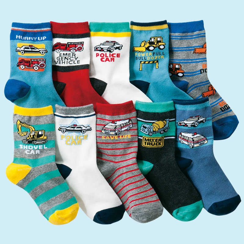 10 paires/lot 4-12 ans enfants chaussettes dessin animé coton garçons chaussettes de haute qualité
