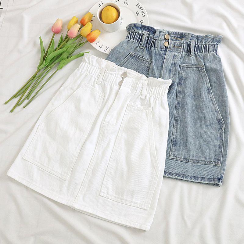 Taille élastique Femmes D'été Denim Jupe Poches Sexy Blanc taille Haute jeans Jupes A-ligne décontracté Volants Femelle mini saia mujer