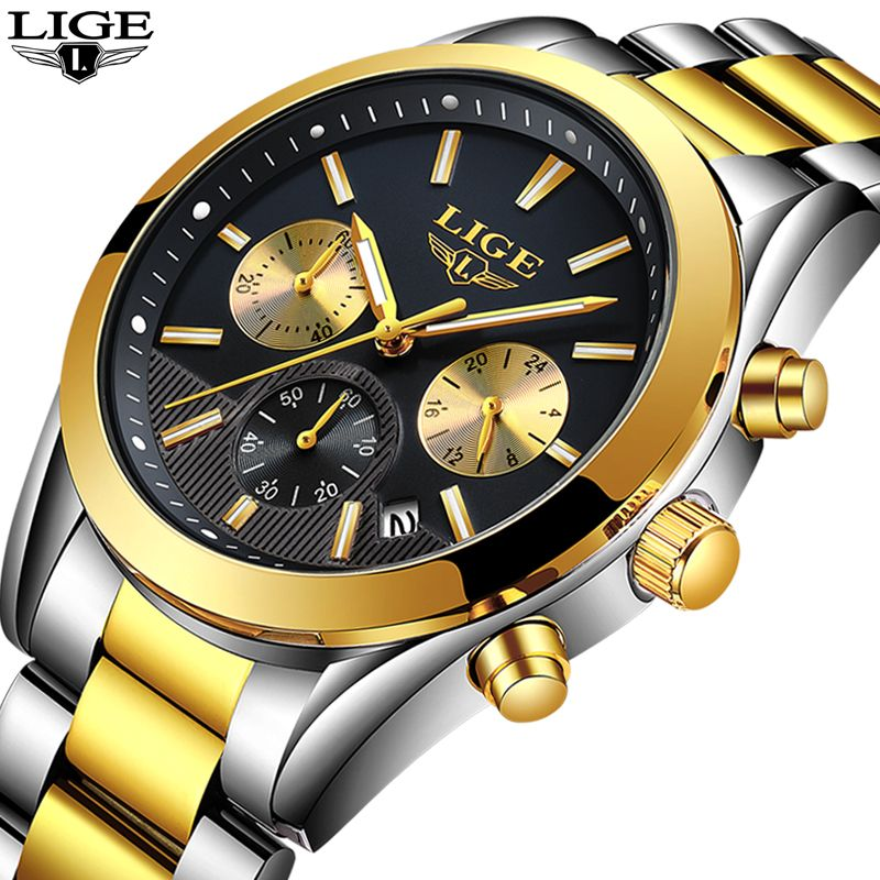 2018 New LIGE Men watch Luxury Brand Waterproof stainless steel Quartz watches Mens Sport fashio Black Clock Reloj masculino+Box