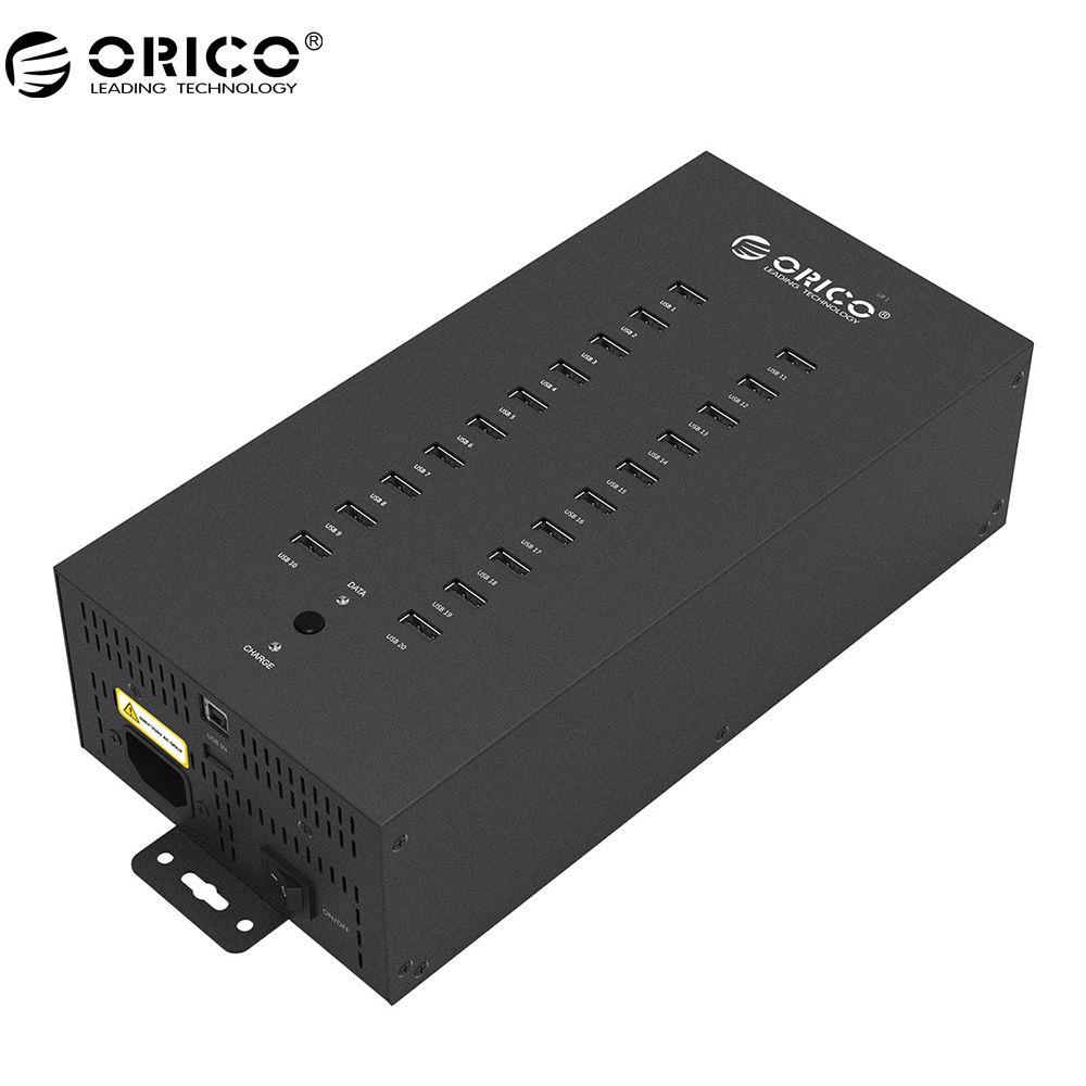 ORICO 20 Ports Industrielle USB2.0 HUB mit Lademodus und Datum Modus-Schwarz (IH20P)