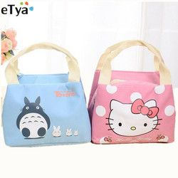 eTya Cartoon Cute Thermal  Lunch Bags Women Lnsulated Cooler Carry Storage Picnic Bag Pouch for Student Kids