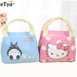 eTya Cartoon Cute Thermal Lunch Bags Women Men Insulated Cooler Carry Storage Picnic Bag Pouch for Student Kids