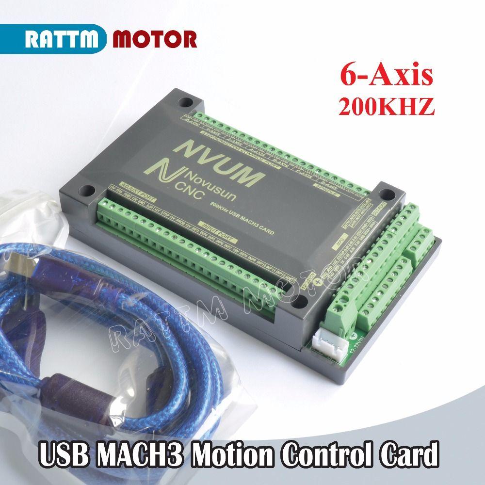 EU Delivery! 6 Axis 200KHZ NVUM MACH3 USB Motion Control Card CNC Controller Slave funct for Stepper Motor Servo motor