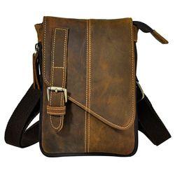 Retro Crazy Horse Genuine Natural Leather Casual Multi-funciton Bag Men's Mini Shoulder Bag Messenger Bag Waist Belt Sling Pack