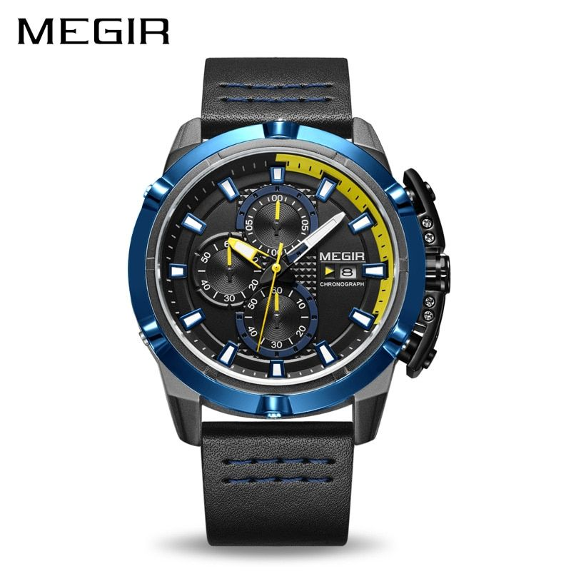 Top Brand Luxury MEGIR Men Sport Watches Chronograph Leather Strap Quartz Military Army Watch Clock Male Relogio Masculino