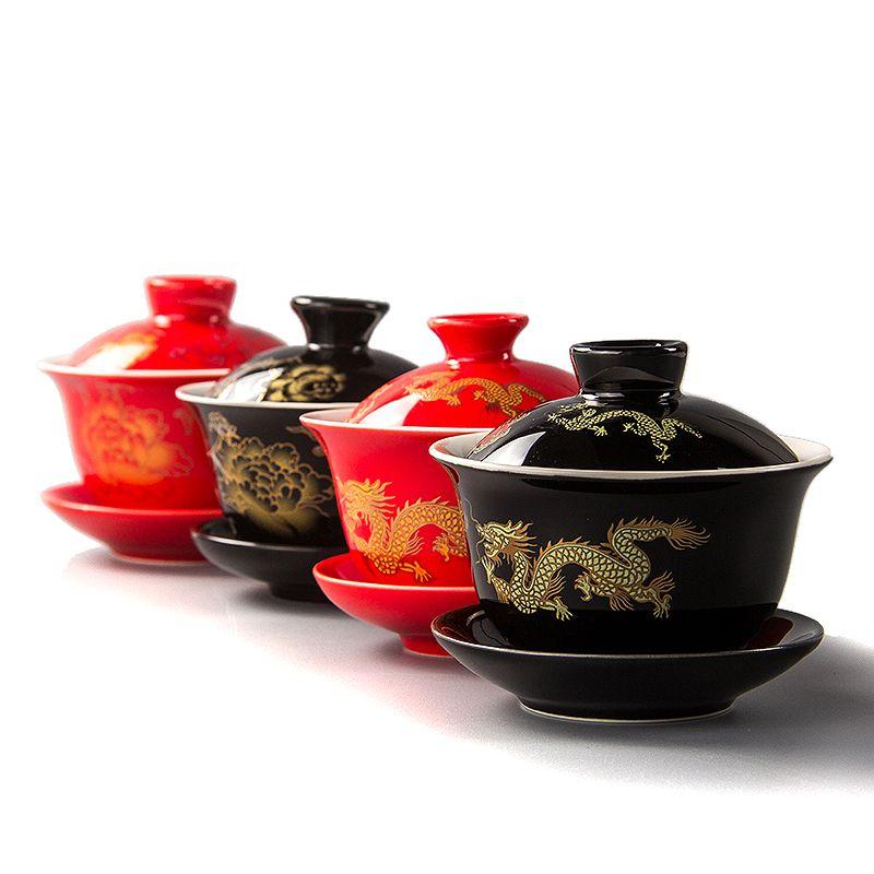 80 ML Rouge Théière Céramique Gai Wan Thé Chine Kungfu Thé ensembles Thé Tasses Pot Porcelaine De Mariage banquet Belle Bouilloire Cadeaux D007