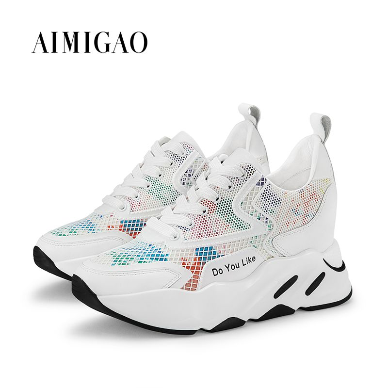 AIMIGAO Leather Luxury Women Designers Sneakers Platform Comfortable Thick Bottom Height Increase Women Casual Flat Shoes 2018