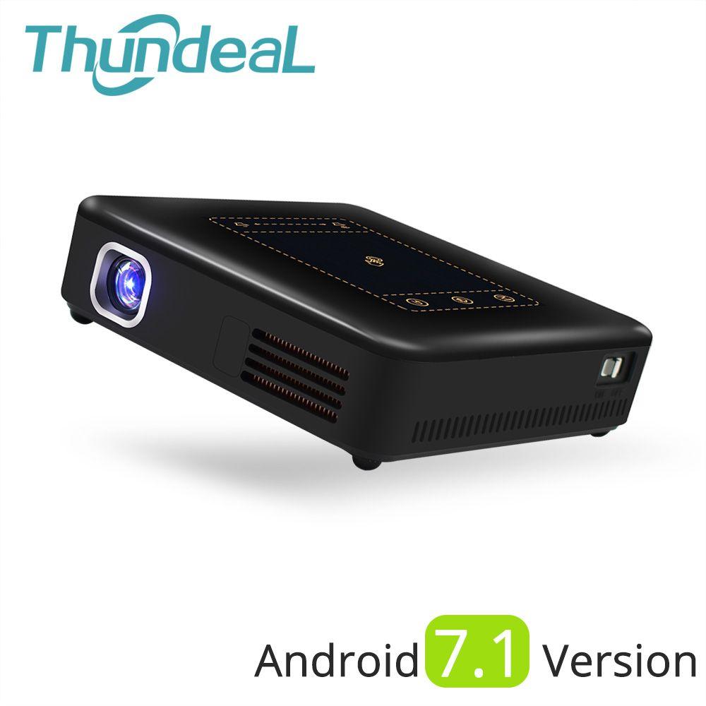 Thundeal Android 7.1 проектор T20 Пико DLP проектор Touch Pad WI-FI Bluetooth мини Бимер 8000 мАч Батарея projetor домашний Театр