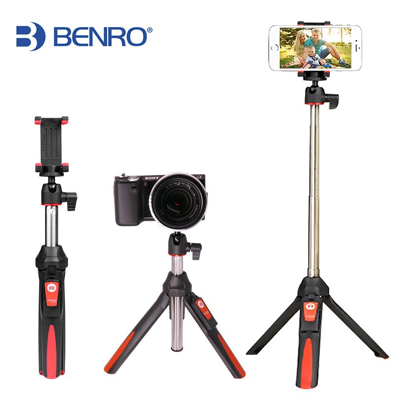 BENRO 33inch Handheld Tripod Selfie Stick 3 in 1 Bluetooth Extendable Monopod Selfie Stick Tripod for iPhone 8 <font><b>Samsung</b></font> Gopro 4 5