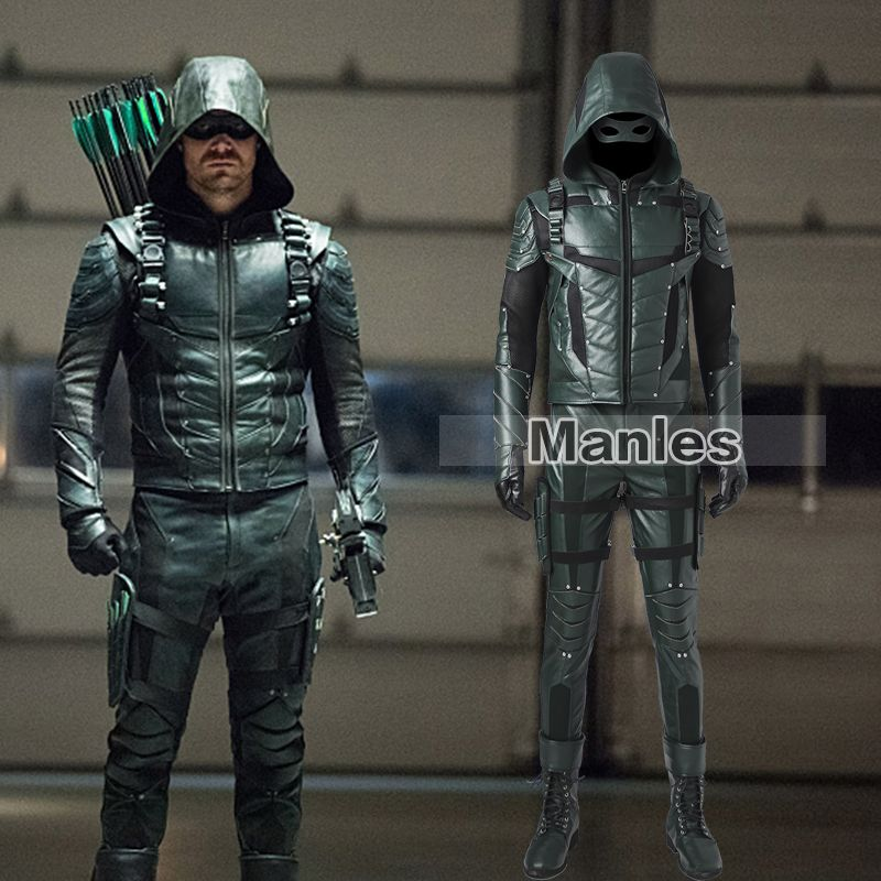 Green Arrow Oliver Queen Cosplay Costume Green Arrow Season 5 Superhero Clothing Male Halloween Leather Costume Adult Men Outfit