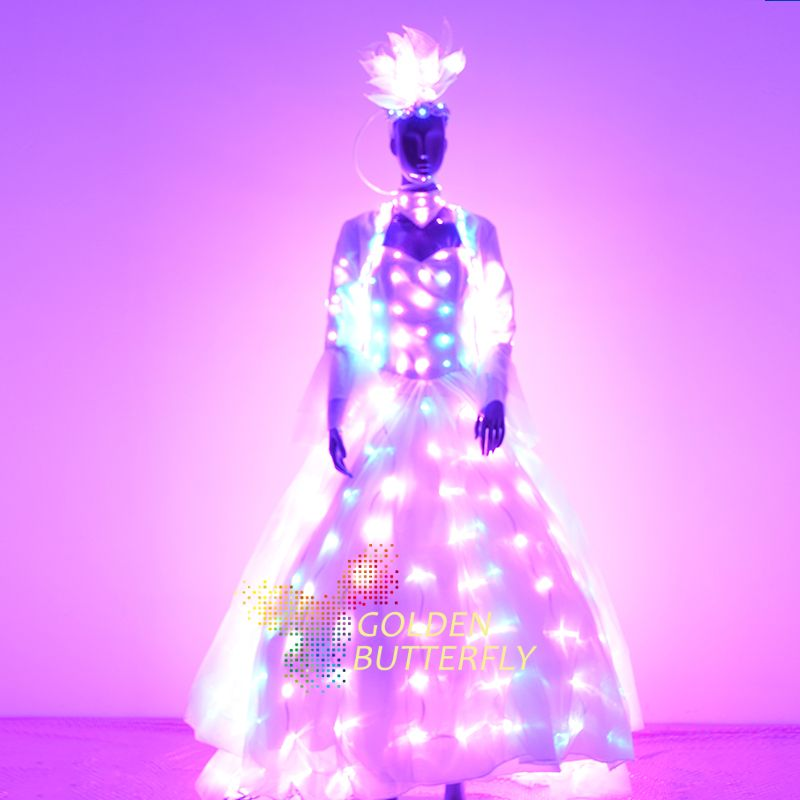 LED Clothing Women Luminous Suit Costumes Glowing LED Clothes Wing 2017 Sellers Lady Dance Dresses Accessories Free Shipping
