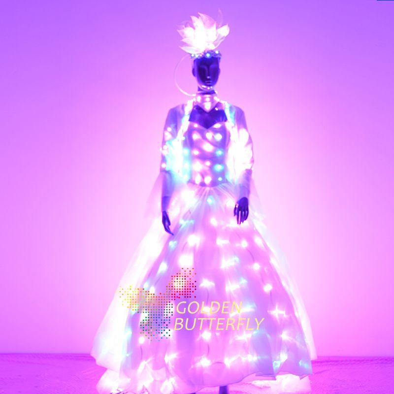 LED ropa luminosa mujeres traje trajes brillantes LED ropa ala 2017 vendedores señora danza Vestidos Accesorios envío libre