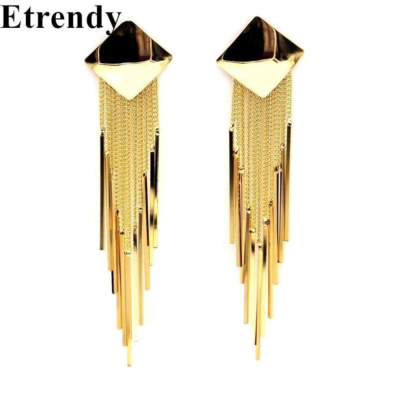 Заявление с металлической кисточкой Длинные Серьги для Для женщин золото-Цвет Новинка 2017 года партия ювелирных изделий Bijoux Street Стиль