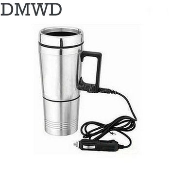 DMWD Auto electric bottle Portable car hot Water Heater cup Travel heating kettle teapot Stainless steel Coffee Tea Mug 12V 24V