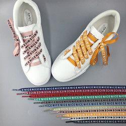 Alta calidad 80/100/120/140 cm Niza carta impresión cordones 1 cm ancho mujer hombres colorido deportivo de cuero zapatos casuales cordones