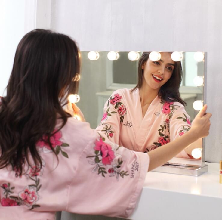 Frameless Vanity Mirror with Light Hollywood Makeup Lighted Mirror 3color Light Cosmetic Mirror Adjustable Touch Screen 58*46cm