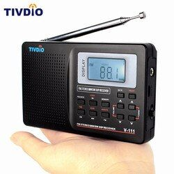 TIVDIO Portable FM Radio DSP FM Stereo/MW /SW /LW Portable Radio Full Band World Receiver Clock&Alarm 9KHZ Radio FM Moscow F9201
