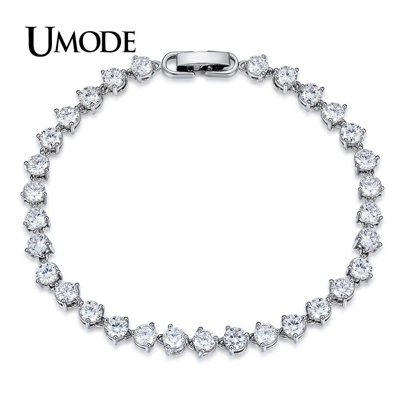 UMODE Classic 0.3ct CZ White Gold Color Cubic Zirconia Crystal Tennis Bracelets Jewelry for Women Pulseiras Bracciale UB0087