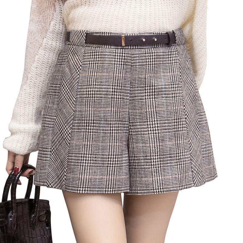 New Autumn winter Woolen Shorts women fashion temperament plaid high waist short feminino wide leg loose ladies shorts with belt