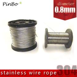100M 304 stainless steel wire rope alambre cable softer fishing lifting cable 7X7 Structure 0.8mm diameter
