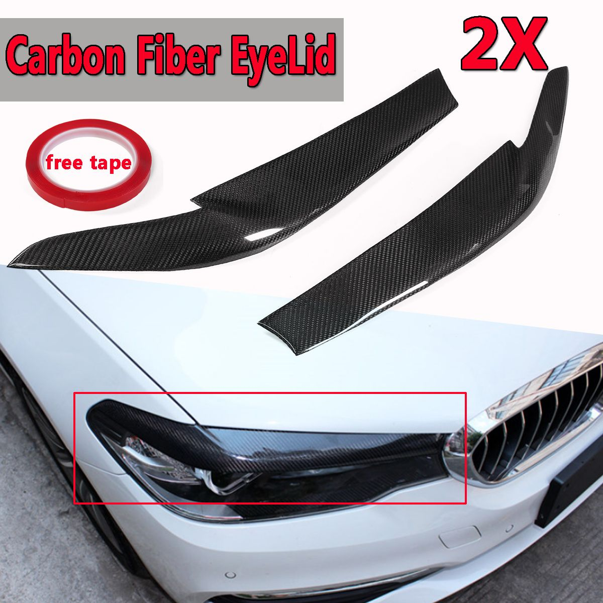 A Pair of Real Carbon Fiber EyeLids Eyebrows For BMW 2017-2018 G30 530i 540i M550i Headlight Upper EyeLid Stickers Cover Caps