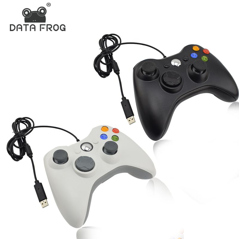 Data Frog Black And White Wired Vibration Gamepad With USB Cable Game <font><b>controller</b></font> Joystick For PC High Quality