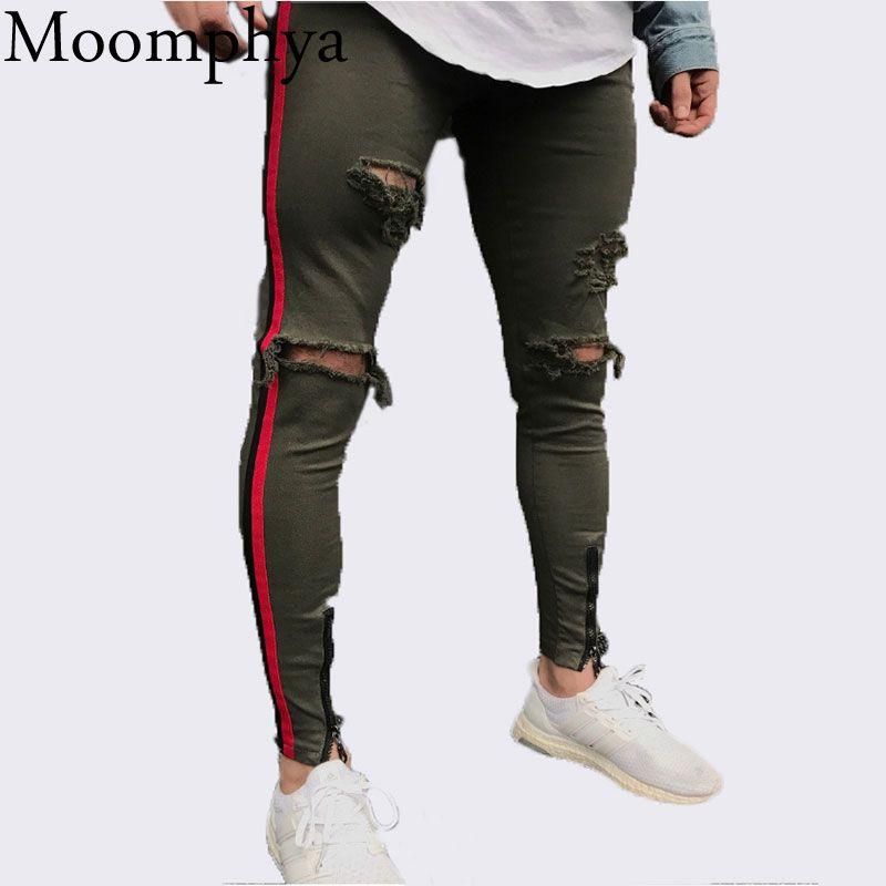 Moomphya 2018 Neue Angekommene Männer seite rot streifen biker jeans denim zerrissenen löcher dünne abendessen dünne hip hop jeans männer