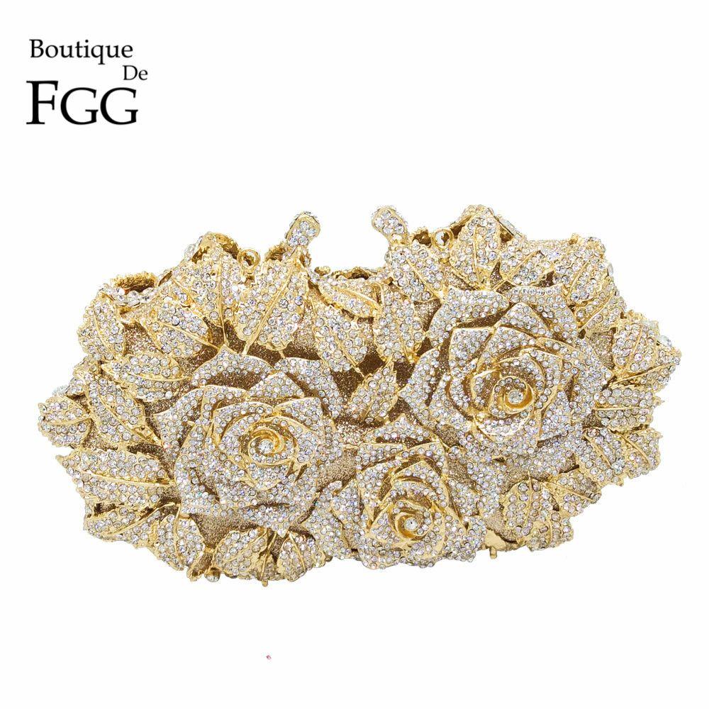 Ослепительно Для женщин Золотая Роза выдалбливают Кристалл Вечернее Металл Клатчи Малый minaudiere Сумочка Кошелек Свадьба коробка клатч