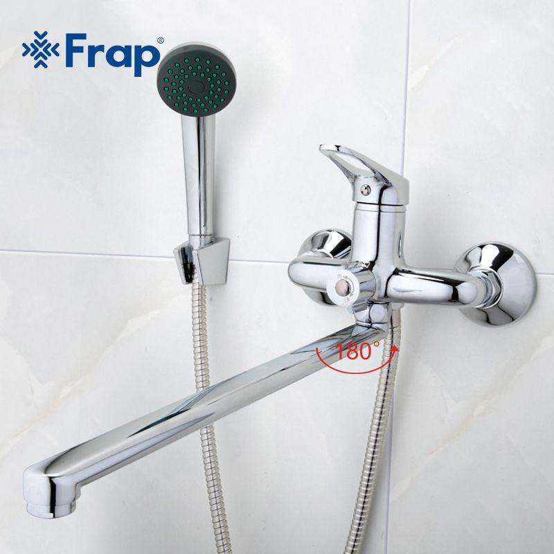 Frap Bathroom Mixer 40cm stainless steel long nose outlet brass <font><b>shower</b></font> faucet F2213