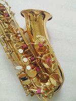 Saxofón Alto instrumento de alta calidad Francia SAS-802 nuevo oro saxofón instrumento imagen Real forma el regalo es enviado Sax