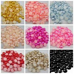 144 pcs/lot Taille 6mm Pick Couleurs Résine Demi Rond Imation Perles Perles Flatback Nail Art Décorer Diy Livraison Gratuite