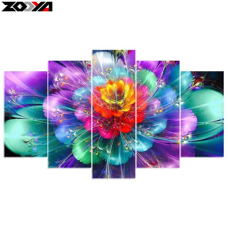 ZOOYA 5D DIY Diamond embroidery colorful flower diamond painting Cross Stitch full drill Rhinestone mosaic home decoration