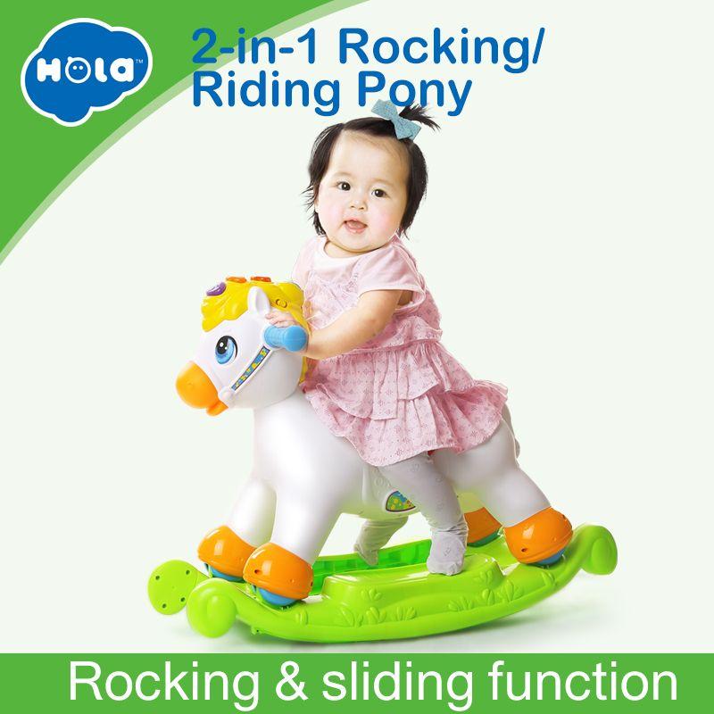Rocking Pony Musical Pädagogisches Schaukel Pferd Fahrt Auf Rollen mit Musik/Licht/Schiebe Spielzeug Kinder Lernen ABC, formen & Zahlen