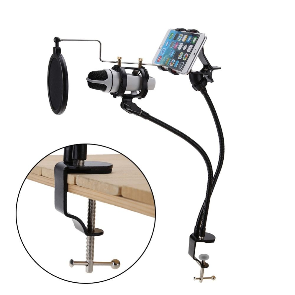 1Pcs Microphone Suspension Boom Arm Stand Mount Set Support Recording the MV for Mobile Phone With Clip Mic Stand Mount Set