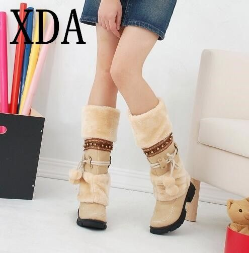 XDA 2018 NEW Winter Warm martin boots Thickened Fur High Heel Boots Women Shoes Fashion Sexy Long <font><b>snow</b></font> boots size 35-43