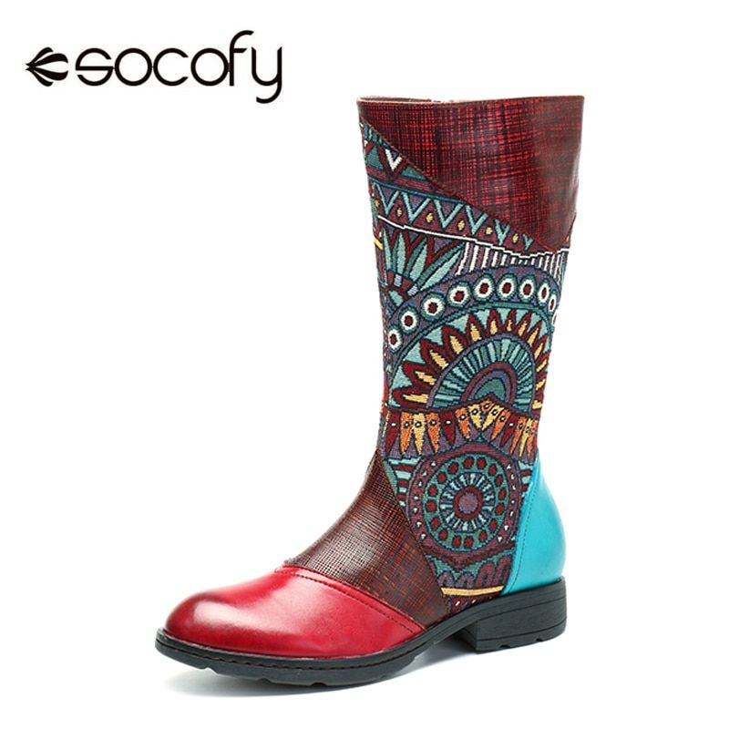 Socofy Handmade Genuine Leather Mid Calf Boots Women Shoes Vintage Bohemian Printed Splicing Zipper Flat Spring Autumn Boots New