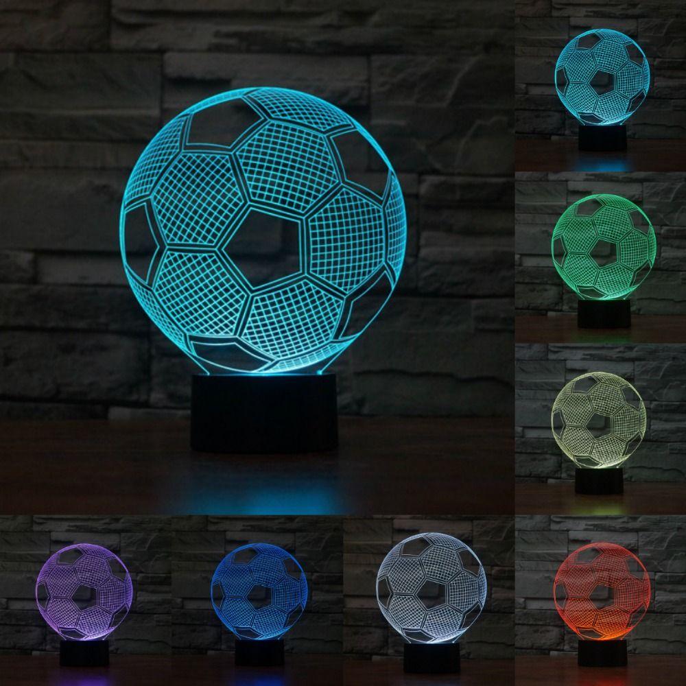 Creativo 3D ilusión lámpara LED noche luz 3D fútbol Acrílico descoloración colorful atmosphere lámpara Novedad en iluminación iy803326