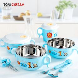 Baby Feeding Bowl Stainless Steel Kartun Isolasi Termal Hisap Kuat Hidangan dengan Garpu Sendok Training Mangkuk CL5319