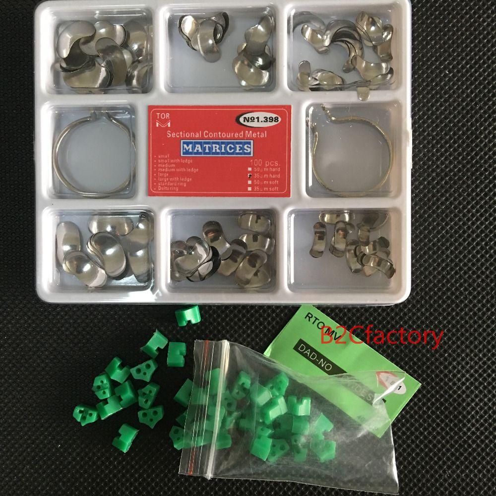100 Pcs Dental Matrix Schnitts Konturierte Matrizen Full Kit + 40 stücke Silikon Dental Hinzufügen-Auf Keile