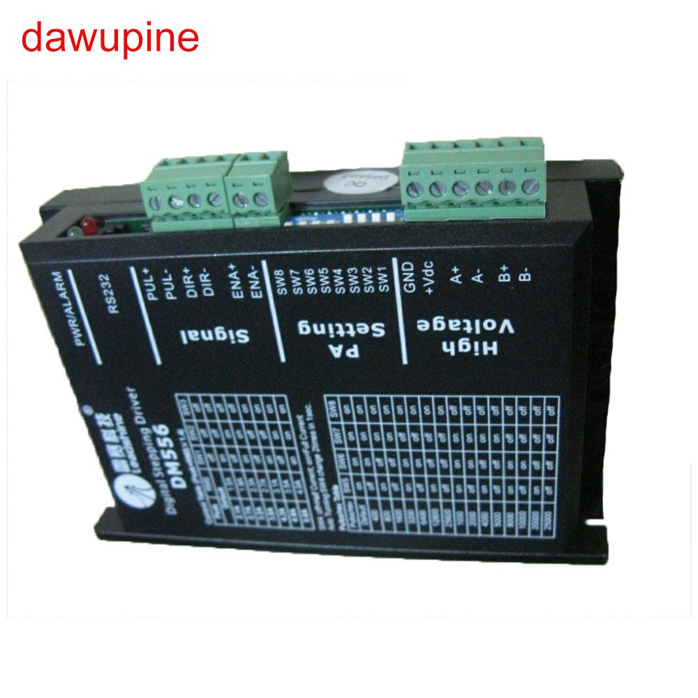 dawupine Stepper Motor Controller Leadshine DM556 2-phase Digital Stepper Motor Driver 18-48 VDC 2.1A to 5.6A NEMA23 NEMA34
