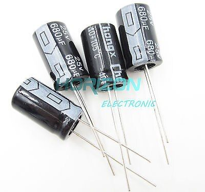 50PCS 680uF 25V 105C Radial Electrolytic Capacitor 10mm*17mm