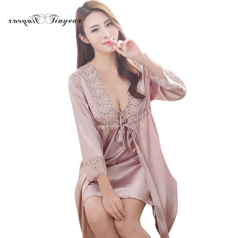 Good quality women elegant nightgown robe set Lace V-neck 4 colors Three quarter sleeve Plus size nightwear