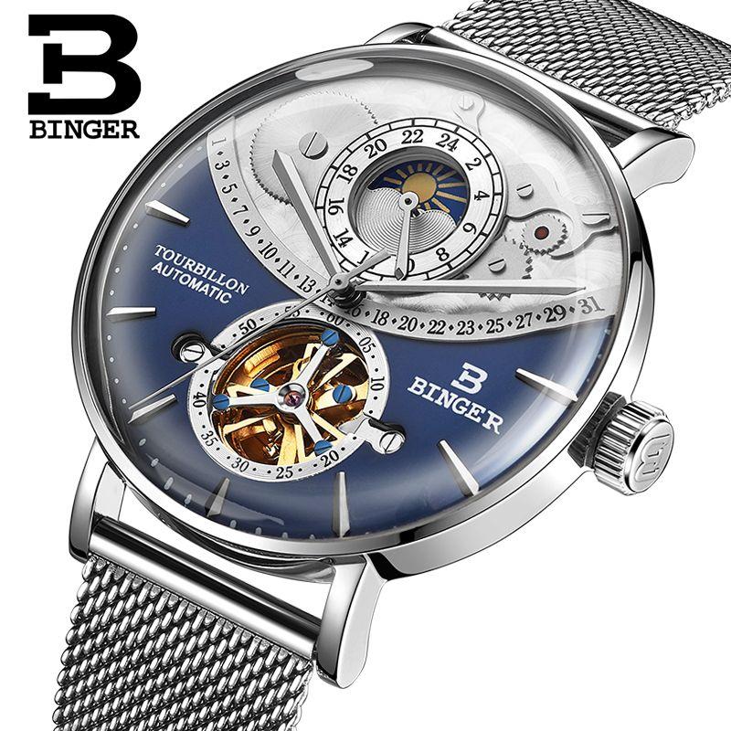 Genuine Luxury BINGER Brand Men full steel automatic mechanical male self-wind waterproof cruve surface big dial watch