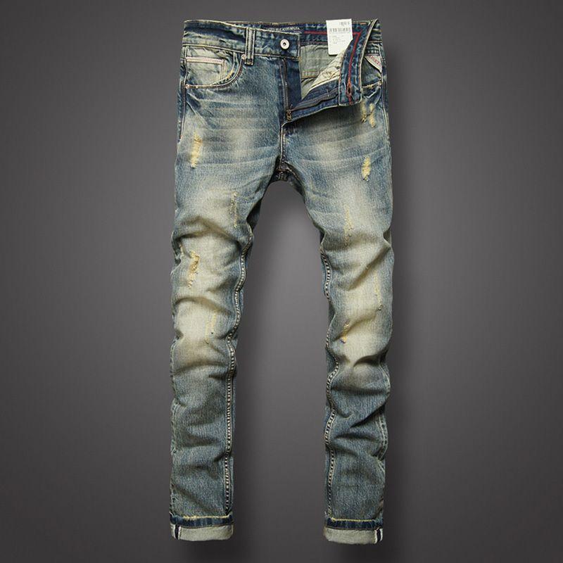 Italian Style Fashion Mens Jeans Retro Design Slim Fit Denim Ripped Jeans Mens Pants Brand Clothing Nostalgia Color Biker Jeans