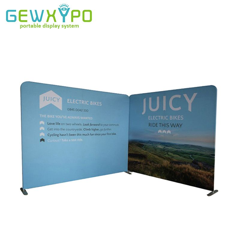 10ft And 8ft Width Tension Fabric Pillow Case Style Banner Exhibition Backdrop Display Stand With Single Side Graphics Printing
