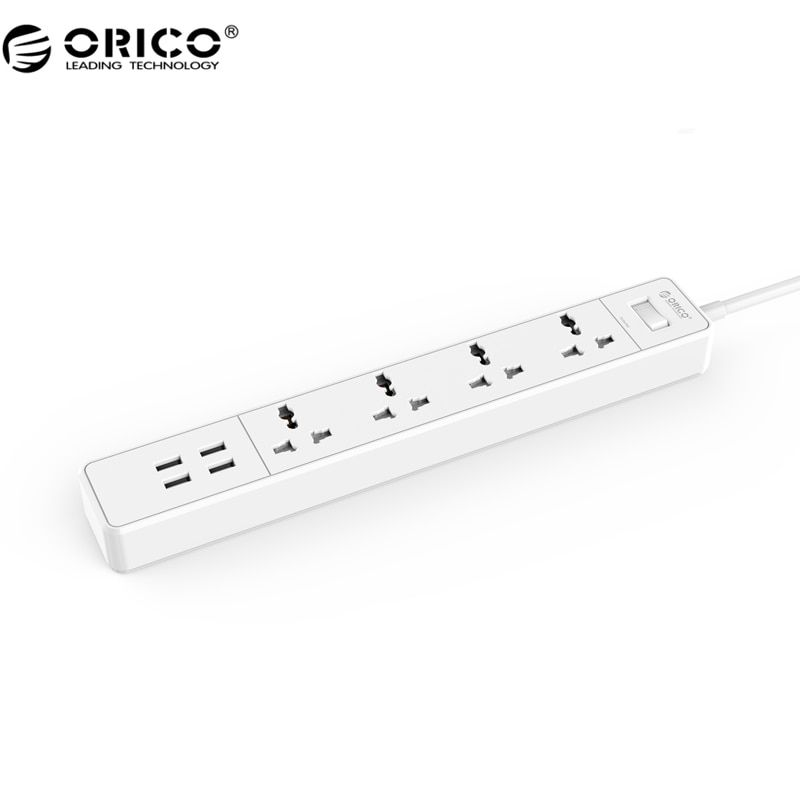 ORICO OSC Home Office Universal Surge Protector With 4 USB Charger 4 Universal AC Plug Multi-Outlet