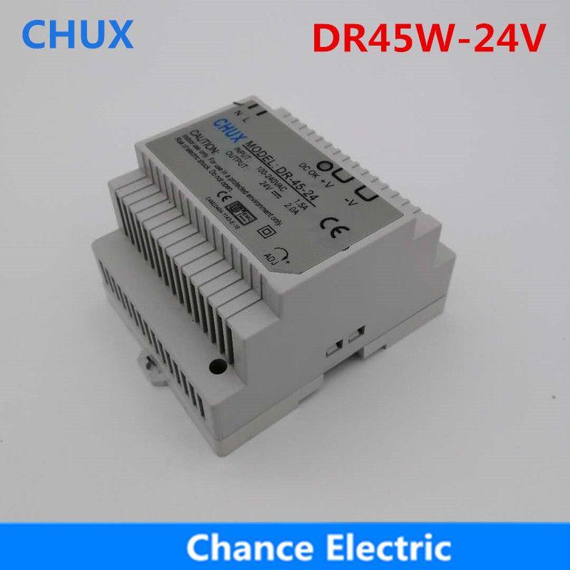 DR-45-24 LED Din Rail monté transformateur d'alimentation à découpage 110 V 220 V AC à DC 24 V 2A 45 W sortie livraison gratuite