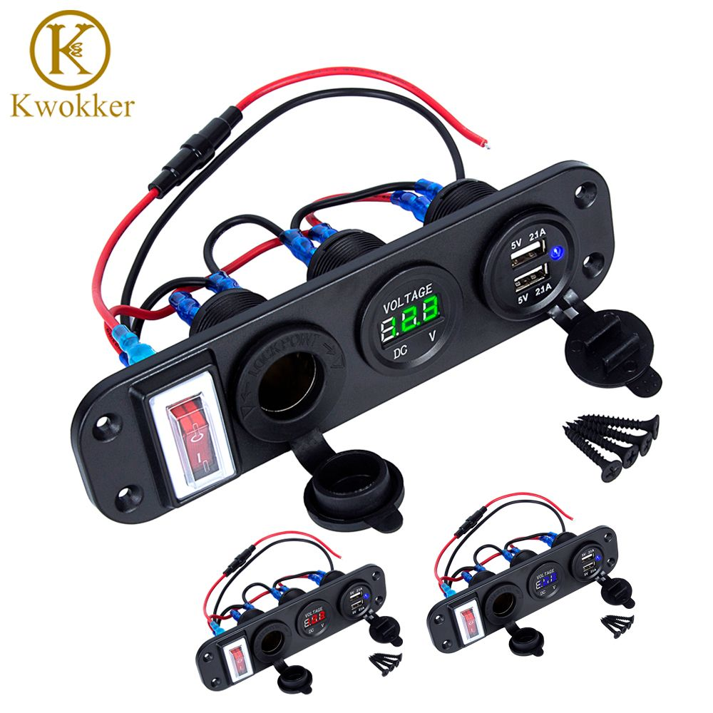 4 in 1 New Digital Voltmeter+12V Power Socket +Dual USB Power Charger Adapter Cigarette Lighter Socket with Rocker Switch